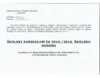 Skolski kurikulum 2015-2016