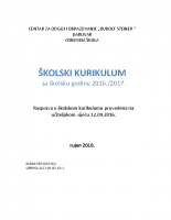 Skolski kurikulum 2016-2017